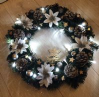 Silver White Christmas Wreath Fairy Lights Front Door Wall Decoration Poinsettia